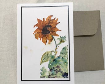Greeting Card, Gift Card, Watercolour painting, sunflower, blank card, floral