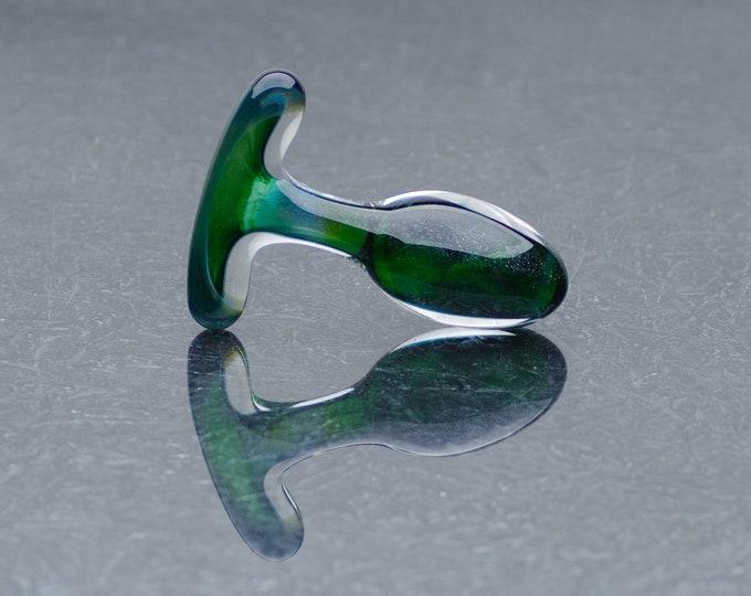 Glass Anal Plug - Extra Small - Dark Emerald