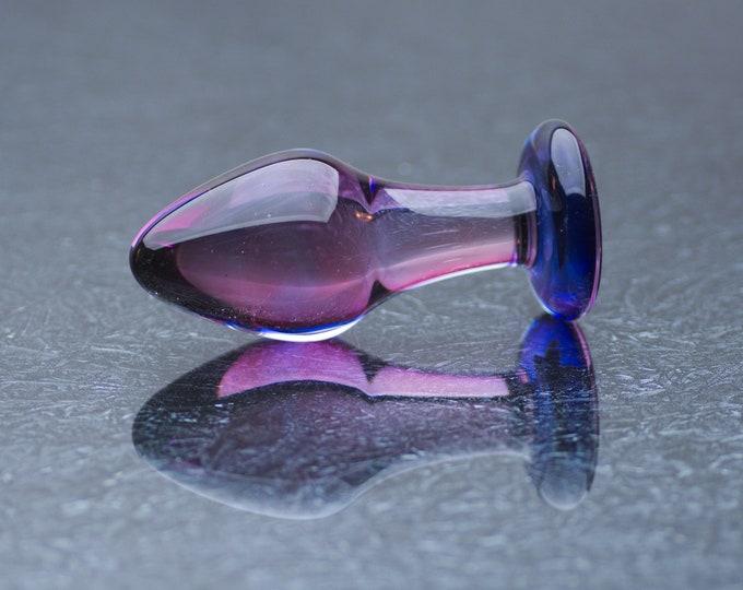 Glass Anal Plug - Medium - Indigo