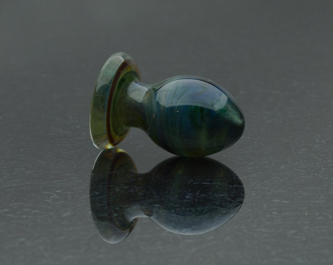 Glass Butt Plug - Small - Glittering Earth - Annealed Borosilicate Body-Safe Glass Sex Toy / Anal Plug