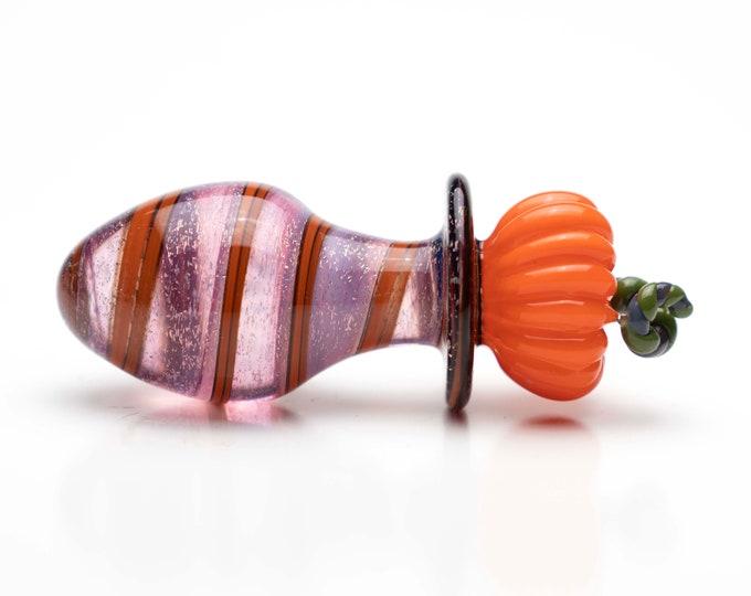 Glass Anal Plug - Pumpkin Spice Ribbon