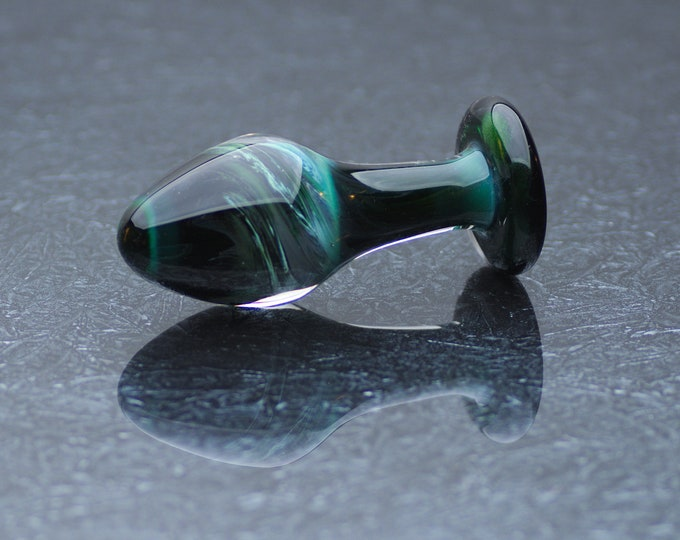 Glass Anal Plug - Small - Dark Emerald