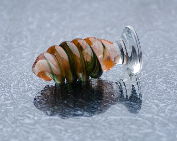 Medium Glass Anal Plug - Peach Tulip