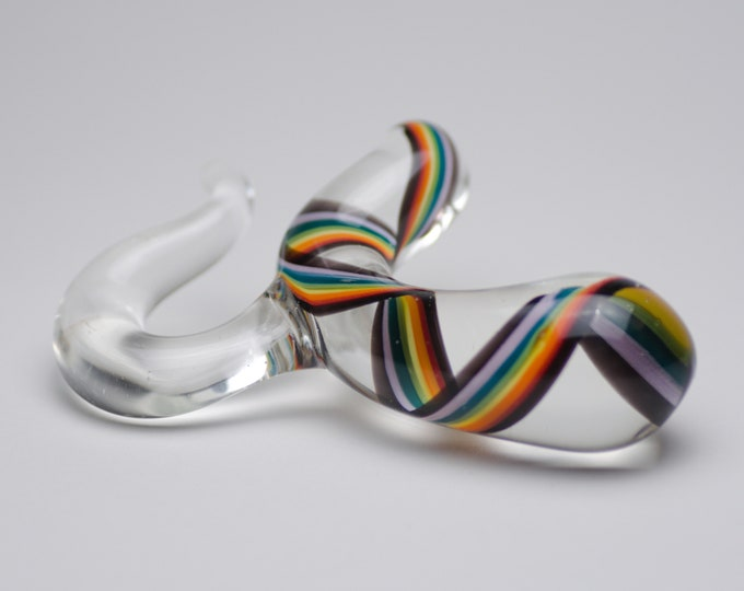 Glass Prostate Massager - Small - Black Rainbow