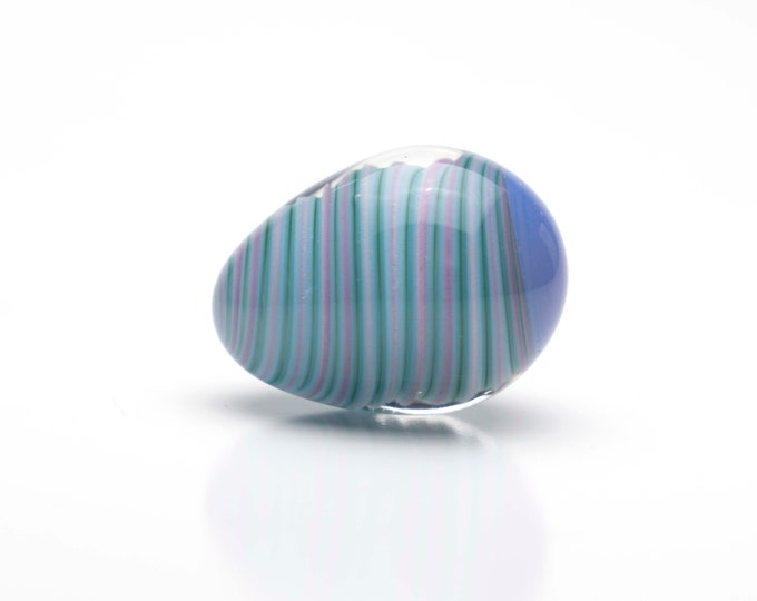 Glass Egg- Small - Pink and Purple swirl