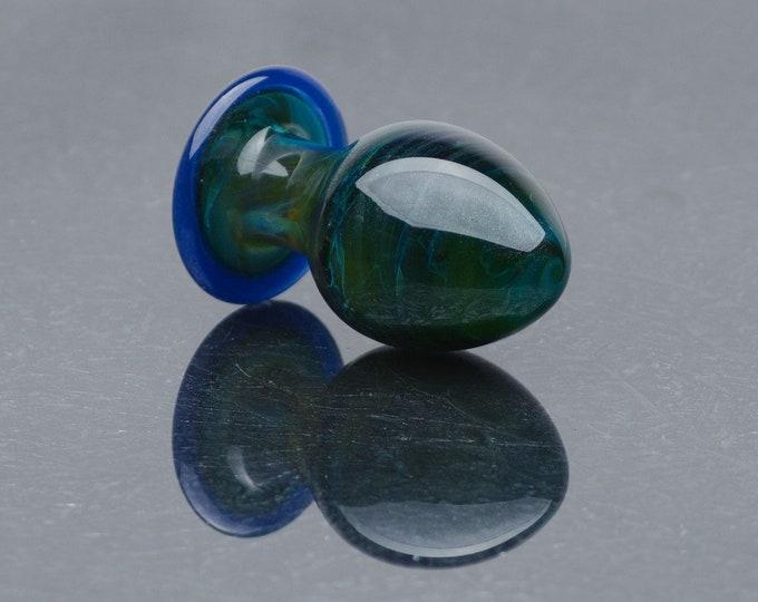 Glass Anal Plug - Medium - Deep Waters