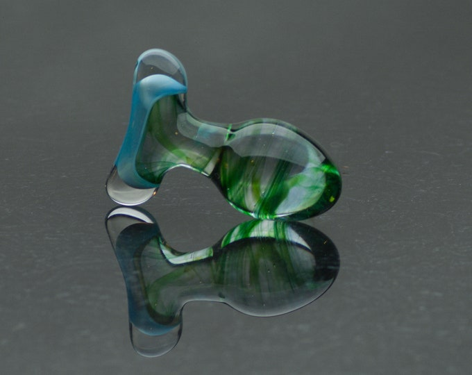 Glass Butt Plug - Extra Small - Light Emerald - Annealed Borosilicate Body-Safe Glass Sex Toy / Anal Plug