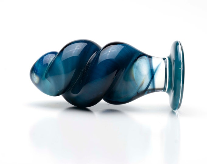 Glass Anal Plug - Medium - Blue Screw
