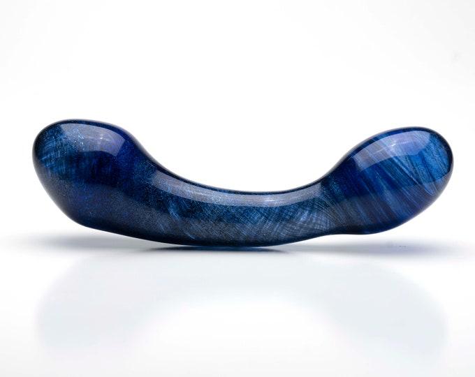 Glass Dildo -Sparkle Blue