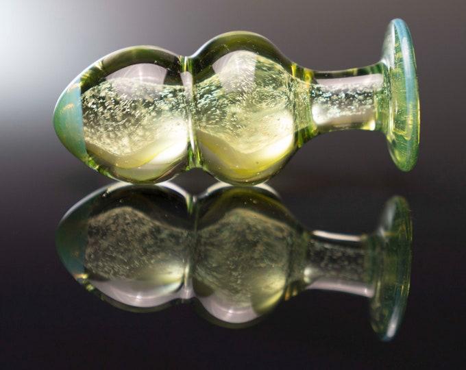 Glass Beaded Plug  - Alien Green Sparkle