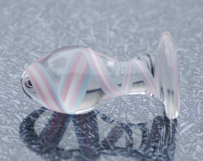Medium Glass Anal Plug - Trans Pride