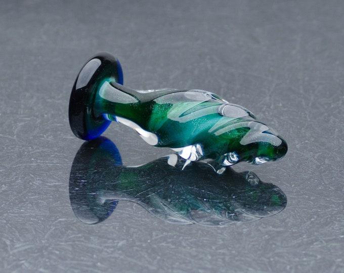 Glass Anal Plug - Medium - Emerald Twist
