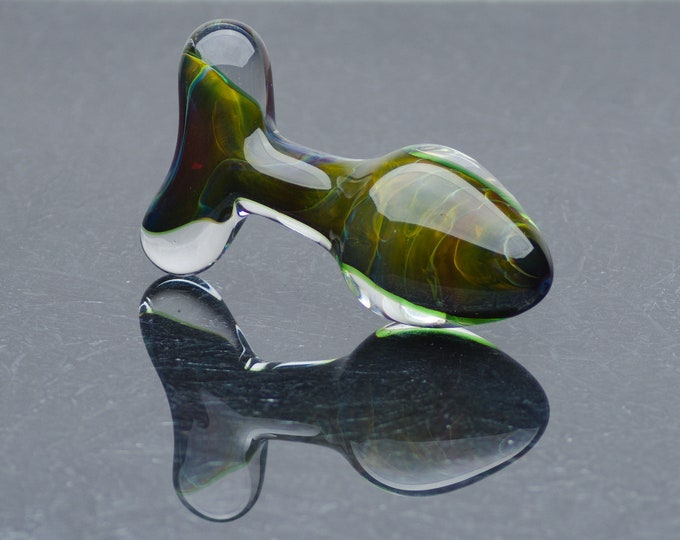 Glass Anal Plug - Large - Mossy Forest
