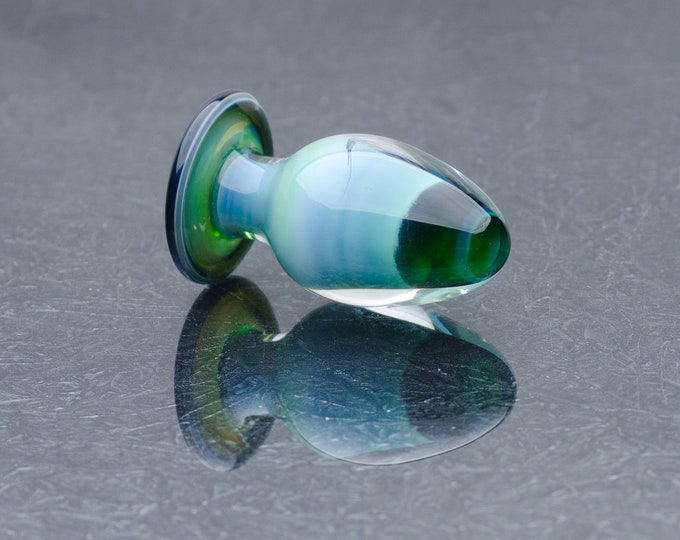Glass Anal Plug - Medium-Large - Teal Cream