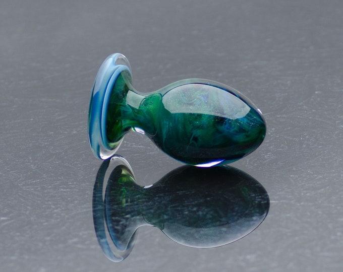 Glass Anal Plug - Medium - Aquamarine Sparkle