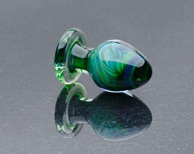 Glass Anal Plug - Large - Teal-Emerald Flare