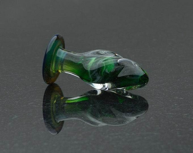 Glass Butt Plug - Extra Small - Glittering Malachite - Annealed Borosilicate Body-Safe Glass Sex Toy / Anal Plug