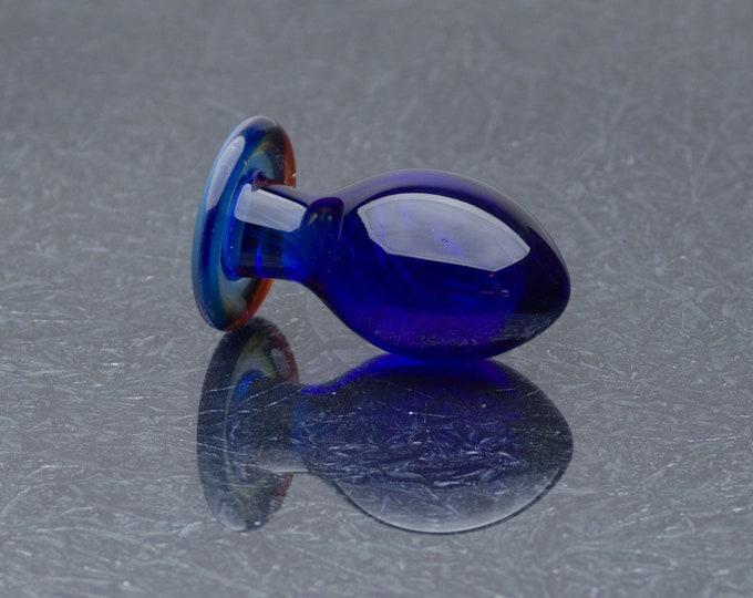 Glass Anal Plug - Medium - Electric Blue