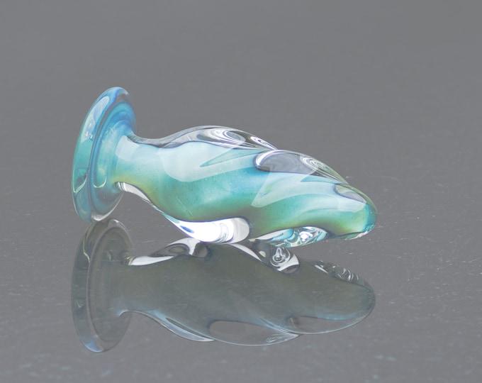 Glass Anal Plug - Medium - Aquamarine