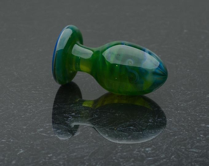 Glass Butt Plug - Medium - Wispy Jade - Borosilicate Body-Safe Glass Sex Toy / Anal Plug - Art Glass Toy by Simply Elegant Glass