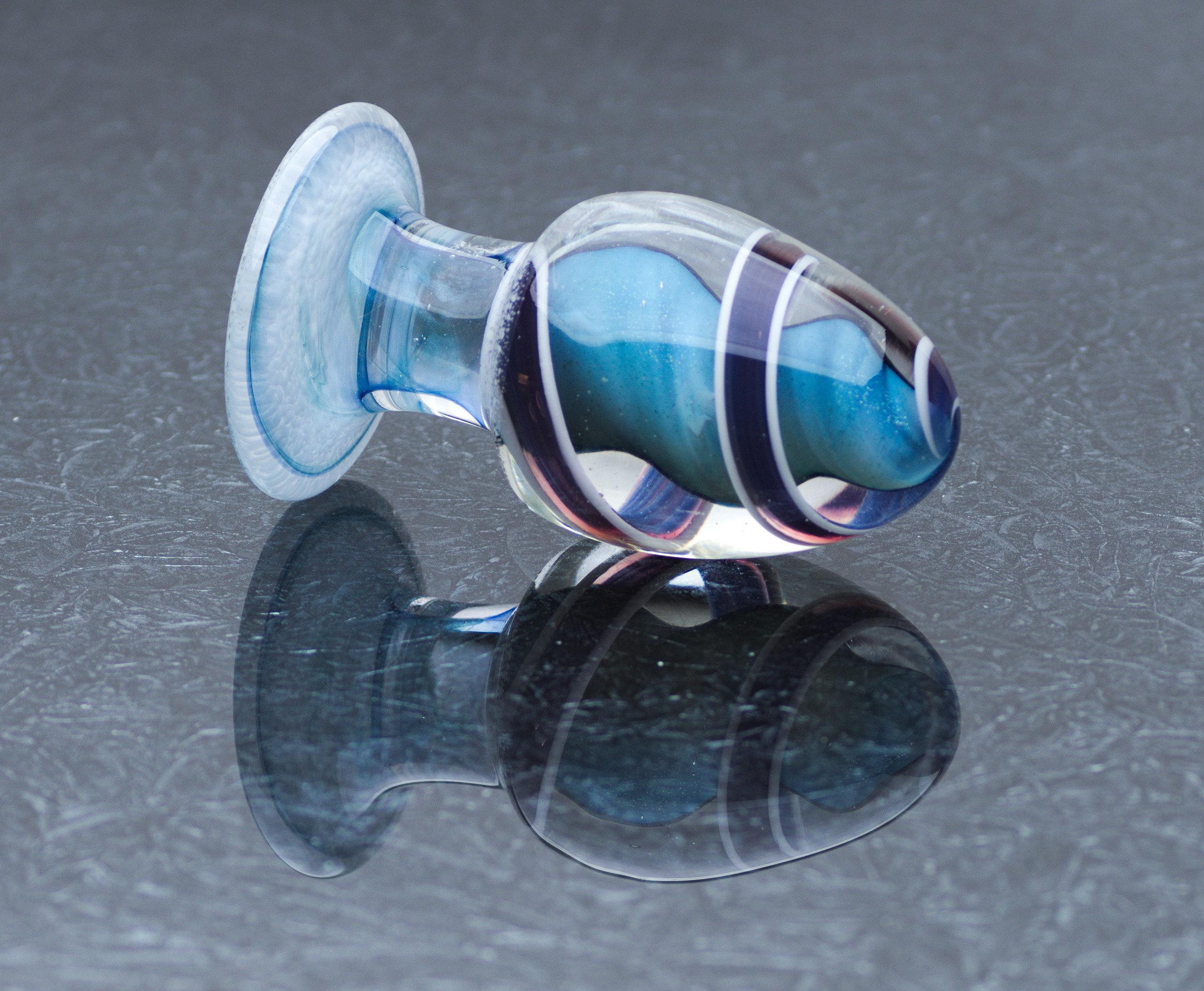 Glass Anal Plug - XXL - Blue Lagoon