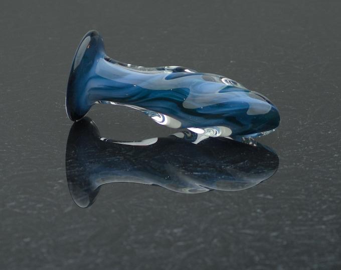 Glass Butt Plug - Extra Small - Blue Moon - Borosilicate Body-Safe Glass Sex Toy / Anal Plug - Art Glass Toy by Simply Elegant Glass