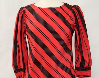 Vintage 80s Jonathan Martin Red Striped Blouse Retro Top Size S