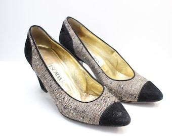 e7c844f4d16 Vintage 80s Escada Black Suede Tweed Fabric Pointed Toe High Heel Pumps  Size 6.5
