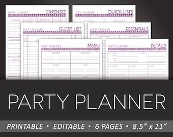 simple party planner printable 8 5 x 11 editable pdf diy etsy