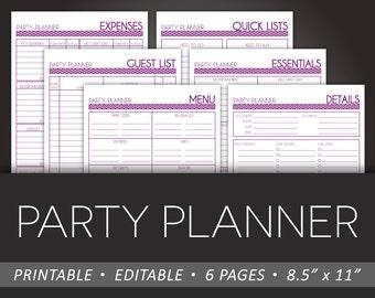 Simple Party Planner Printable -  8.5 x 11 Editable PDF - DIY Event Planner Organizer Party Planning - Instant Download - Purple Chevron