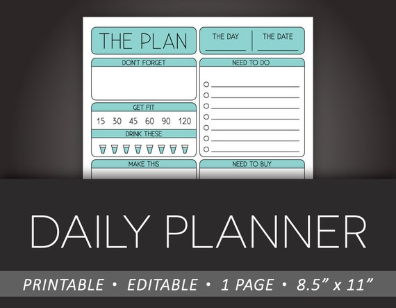 Daily Planner Printable 8 5 x 11 Editable PDF To-Do Fitness Shopping List  Health Tracker Meal Plan Reminders INSTANT DOWNLOAD - Light Blue