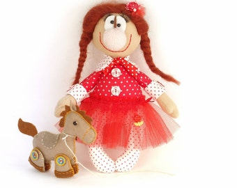 Funny fabric doll, Gift for kids, Cute cloth doll, Smart clowness doll handmade, Unusual stuffed doll with circus pony Circus girl doll gift