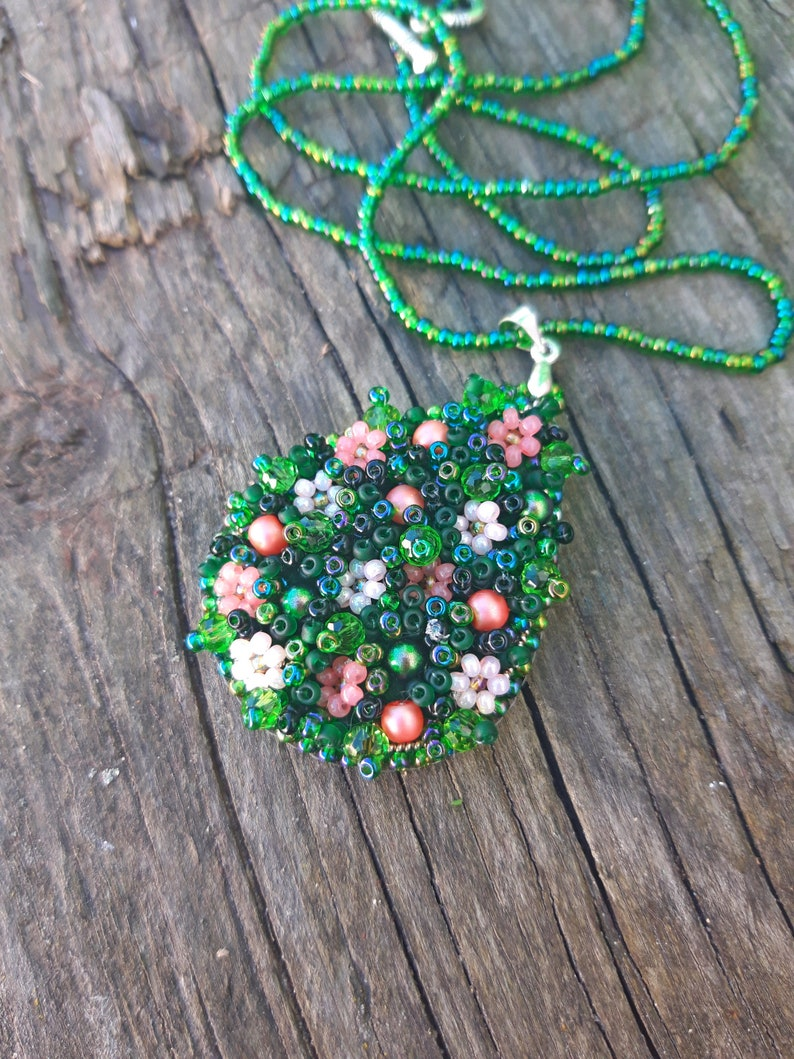 Seed Bead Jewelry Bead Embroidery Necklace Handmade May Spring Refreshment Gift For Women Beaded Jewelry