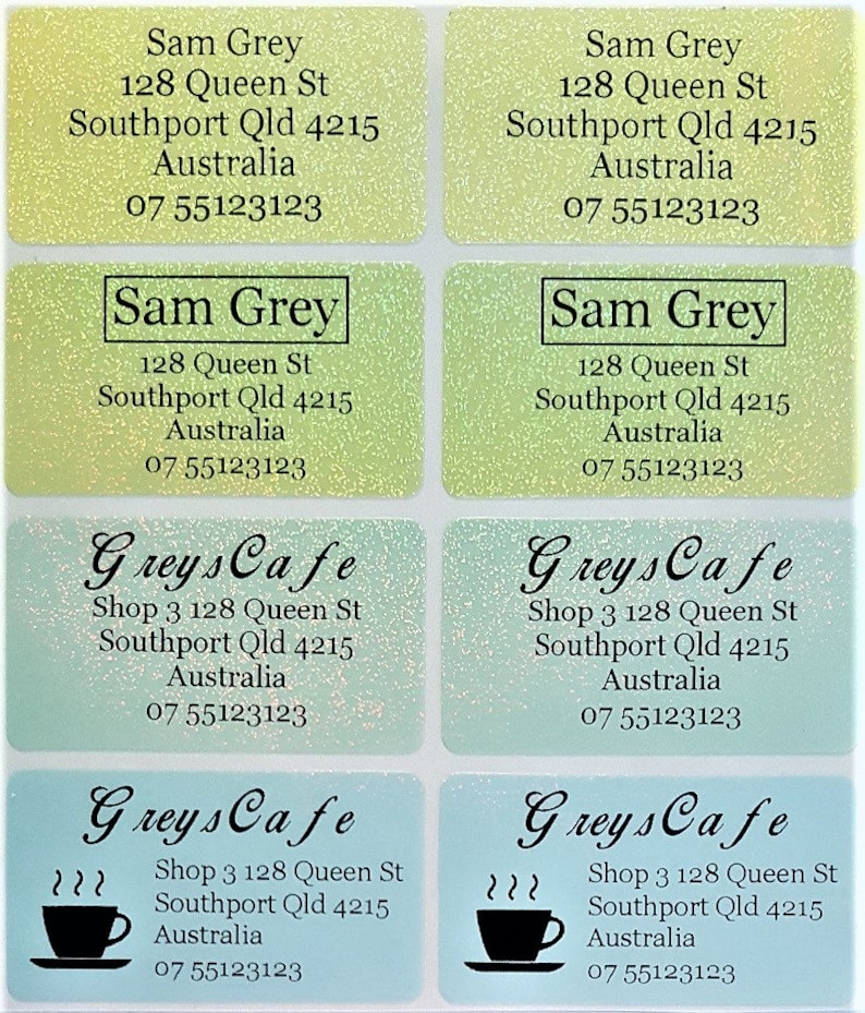 XL Dishwasher Safe Gold Personalised Name Address Label Stickers 45*25mm