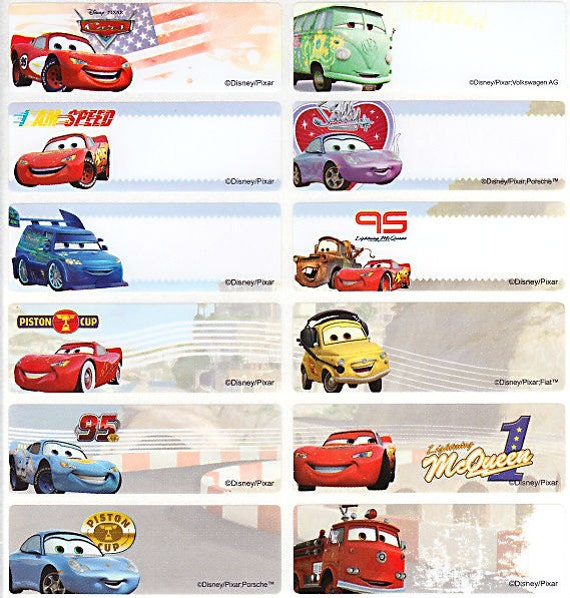 28/56 Cars Personalised Name Label Stickers Large 4615mm