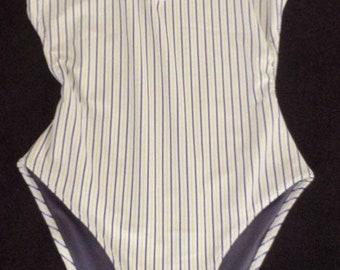 Backless stripe swimsuit