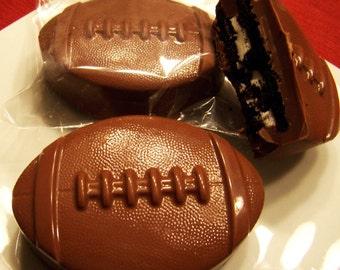 12 Gourmet Chocolate covered Double Stuffed Oreo Footballs