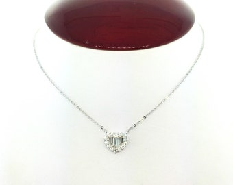 """Sterling Silver """"Heart Pendant"""" necklace with baguettes and round CZ's."""