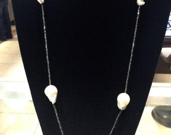 Baroque pearls Hematite Necklace