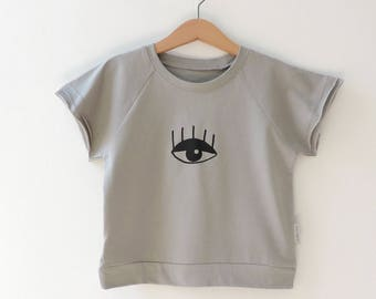 Eye print T-Shirt, Kids Grey T-shirt, Toddlers grey Shirt, Modern Kids Oversized T-Shirt, Eye Print Tee - By PetitWild