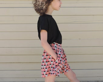 Geometric Pleated Skirt Shorts - Girl Baby Toddlers Skirt Shorts - Colorful Skirt - Trendy Girl Clothing - Girls Summer Style - By PetitWild