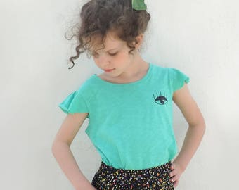 Turquoise Shirt, Girl Short Sleeves Top, Girl Summer Shirt, Eye Print T-shirt, Hipster Girl, Cotton Shirt, Size 3T 7T 8T - By PetitWild