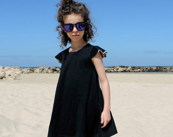 Black Dress For Girls, Toddler Black Dress, Girls Summer Dress, Girls Sequin Dress, Knit Black Dress, Modern Dress - 2T to 10T- By PetitWild