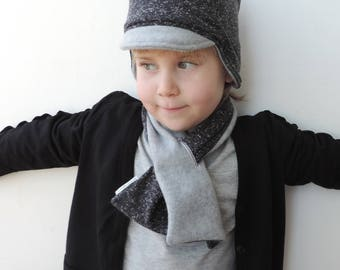 Reversible Grey Fleece Scarf,  Neck Warmer For Boys And Girls, Modern And Trendy Kids Neck Warmer, Trendy kids - by PetitWild