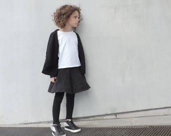 Baby Girl Toddler Girl Set Clothing, Modern Girl Clothes, Skirt Leggings And Black Cardigan, Size 18M & 4T - By PetitWild