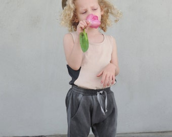 Girls Powder Pink Tank, Toddler Tank Top, Girls Top, Toddler Summer Clothing, Hipster Girls Fashion, Grey And Powder Pink Cotton, SALE