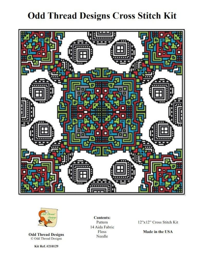 Counted Cross Stitch Kit Geometric Connected Orb Design image 0