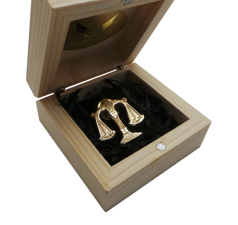 Law Scales of Justice Gold Lapel Pin Legal Emblem Luxury Gifts image 0