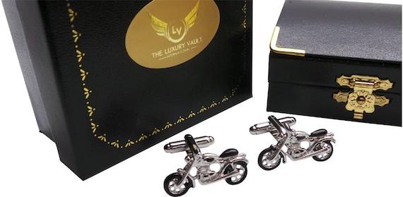 Moto Motocicleta Ciclismo Biker Gemelos /& Grabado Caja De Regalo