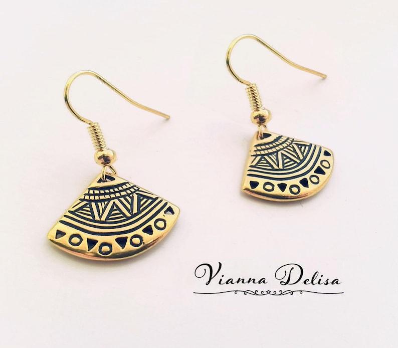 Fan Earrings Gold Arrow Earrings Gold Tribal Earrings Minimalist Boho Earrings Aztec Earrings Love Small Triangle Earrings
